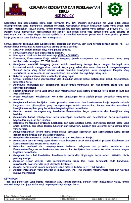 HSE POLICY (K3)